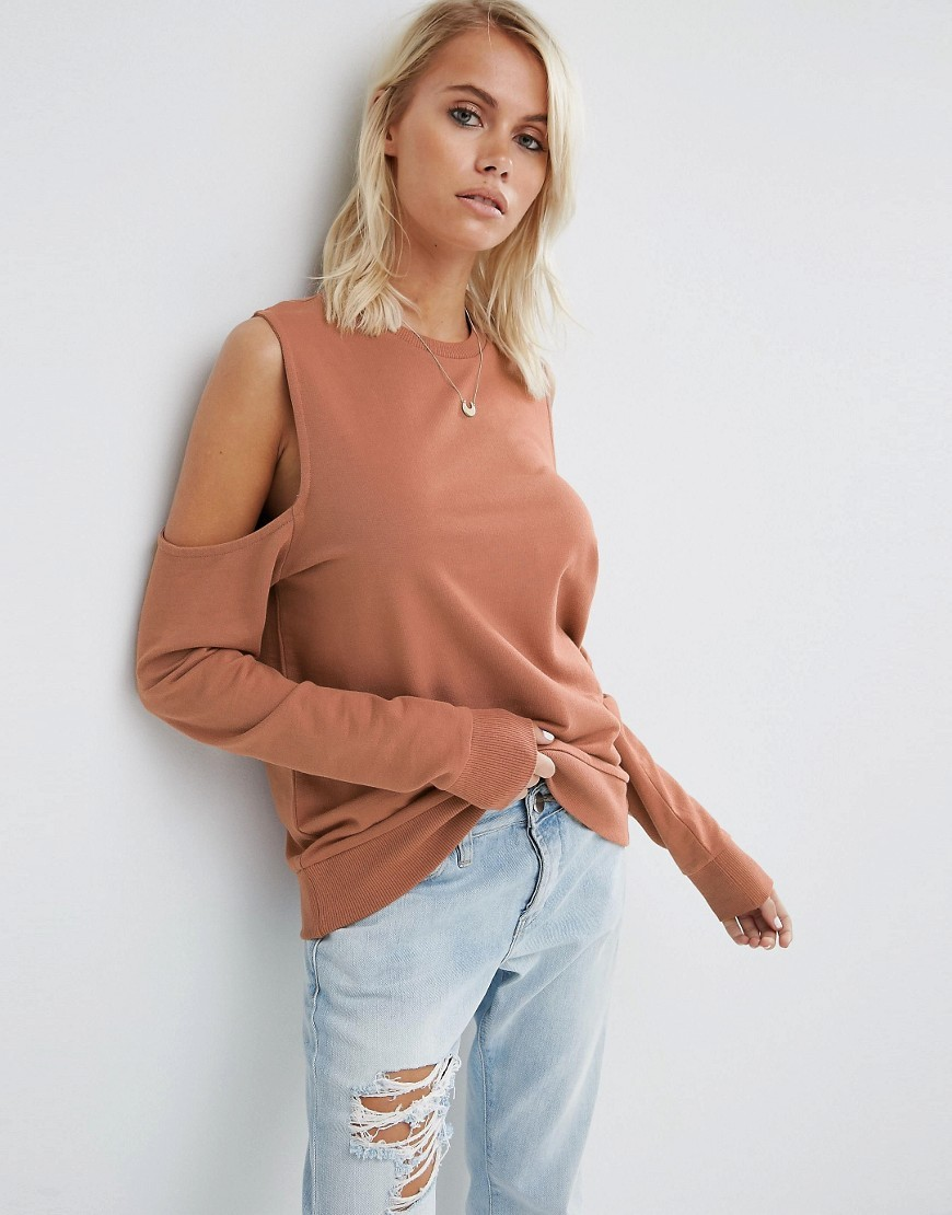 Sweatshirt With Clean Cold Shoulder Nude - pattern: plain; predominant colour: nude; occasions: casual; length: standard; style: top; fibres: cotton - 100%; fit: body skimming; neckline: crew; shoulder detail: cut out shoulder; sleeve length: long sleeve; sleeve style: standard; pattern type: fabric; texture group: jersey - stretchy/drapey; season: s/s 2016; wardrobe: highlight