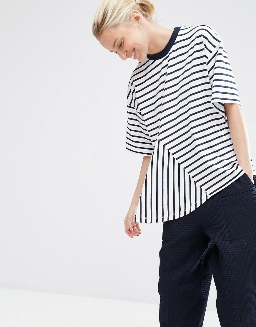 Cut Away Stripe T Shirt Multi - pattern: horizontal stripes; style: t-shirt; predominant colour: white; secondary colour: black; occasions: casual; length: standard; fibres: viscose/rayon - stretch; fit: loose; neckline: crew; sleeve length: short sleeve; sleeve style: standard; pattern type: fabric; texture group: jersey - stretchy/drapey; multicoloured: multicoloured; season: s/s 2016; wardrobe: basic