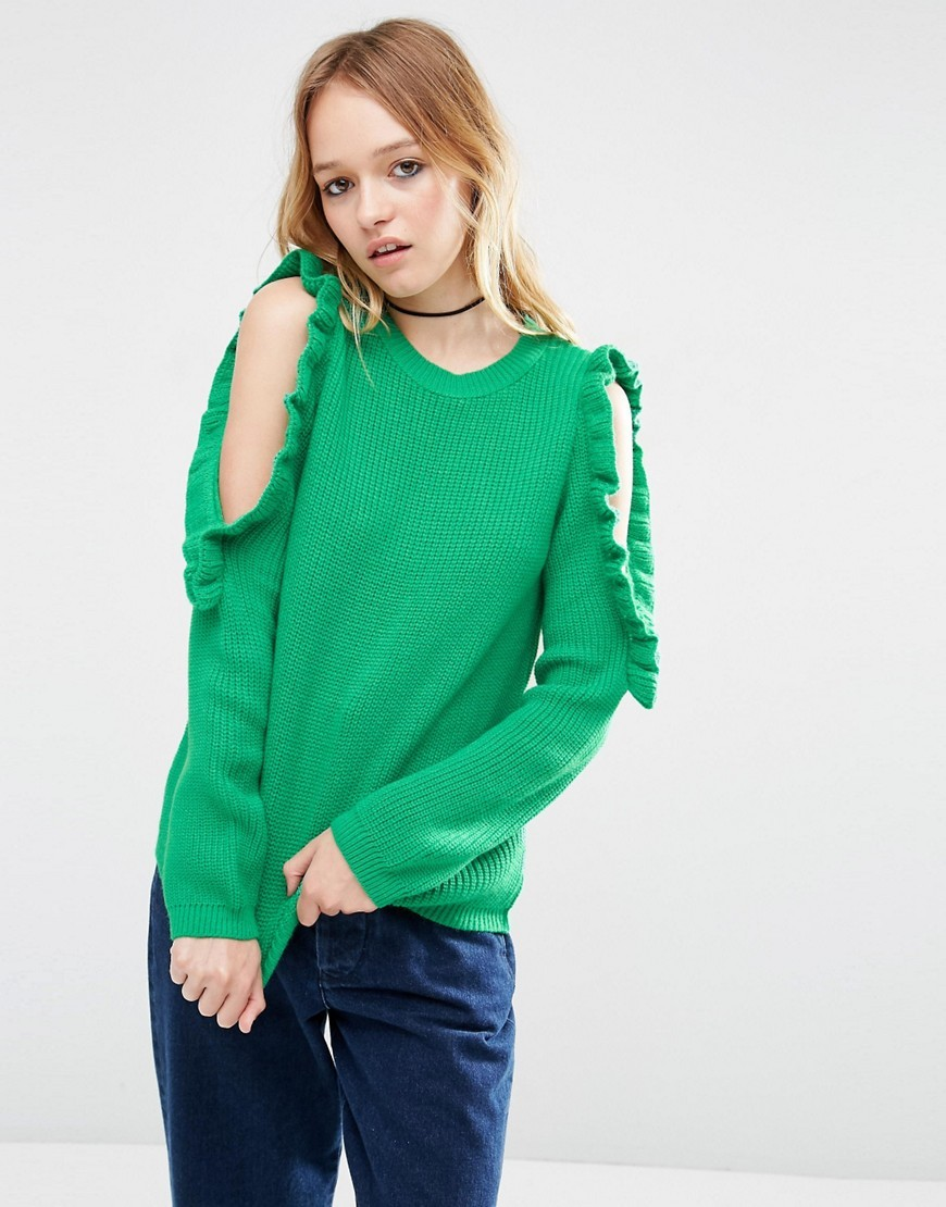 Chunky Jumper With Ruffle Cold Shoulder Detail Green - pattern: plain; style: standard; predominant colour: emerald green; occasions: casual, creative work; length: standard; fibres: acrylic - 100%; fit: standard fit; neckline: crew; shoulder detail: cut out shoulder; sleeve length: long sleeve; sleeve style: standard; texture group: knits/crochet; pattern type: knitted - fine stitch; season: s/s 2016; wardrobe: highlight