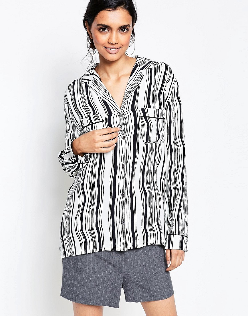 Nairobi Crepe Wavey Striped Blouse White Smoke/Black - neckline: shirt collar/peter pan/zip with opening; pattern: striped; length: below the bottom; style: blouse; secondary colour: white; predominant colour: black; occasions: casual, creative work; fibres: viscose/rayon - 100%; fit: body skimming; sleeve length: long sleeve; sleeve style: standard; bust detail: bulky details at bust; pattern type: fabric; pattern size: standard; texture group: other - light to midweight; season: s/s 2016; wardrobe: highlight
