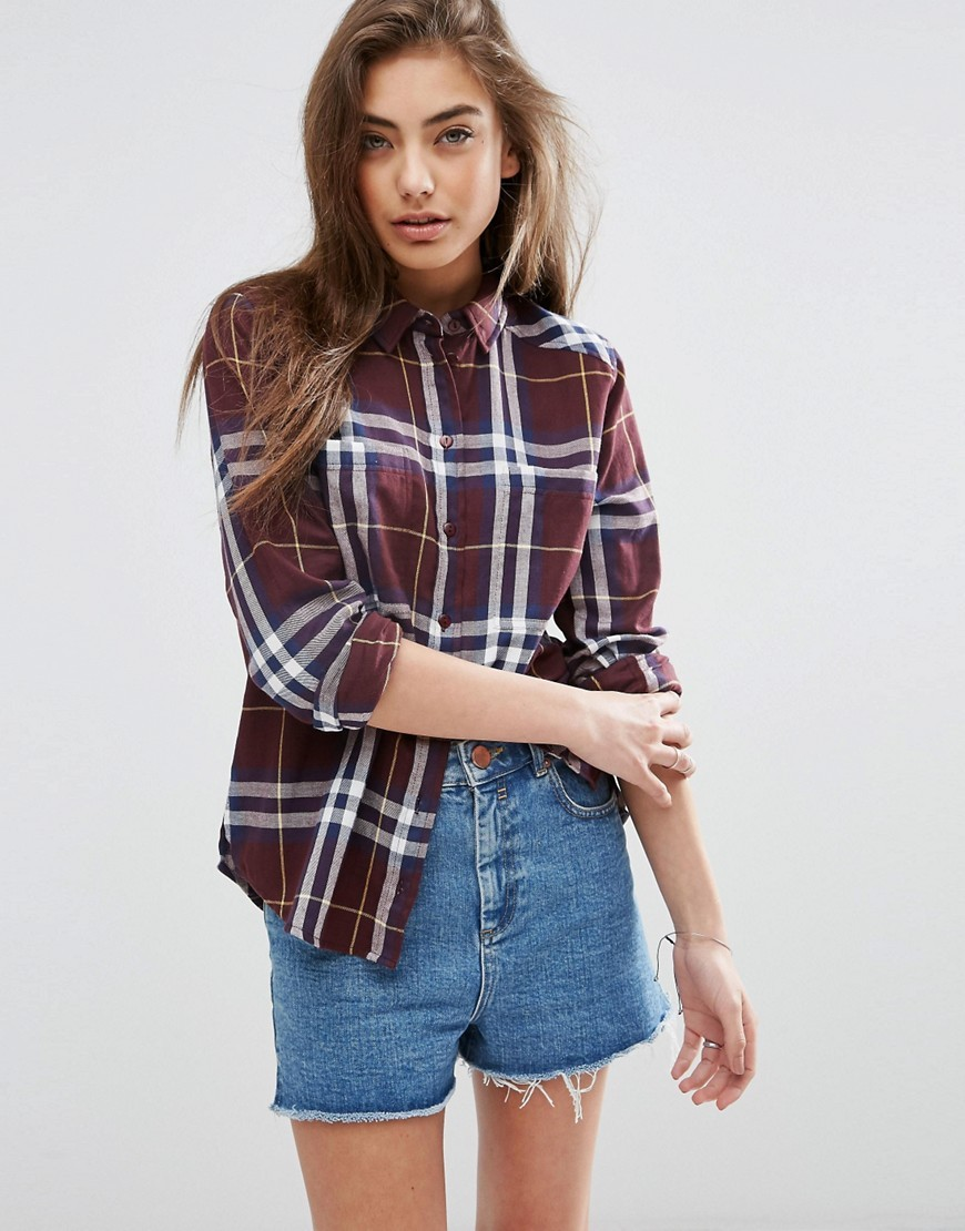 Boyfriend Shirt In Oxblood Check Multi - neckline: shirt collar/peter pan/zip with opening; pattern: checked/gingham; style: shirt; bust detail: buttons at bust (in middle at breastbone)/zip detail at bust; secondary colour: white; predominant colour: burgundy; occasions: casual; length: standard; fibres: cotton - 100%; fit: body skimming; sleeve length: long sleeve; sleeve style: standard; texture group: cotton feel fabrics; pattern type: fabric; pattern size: big & busy (top); multicoloured: multicoloured; season: s/s 2016