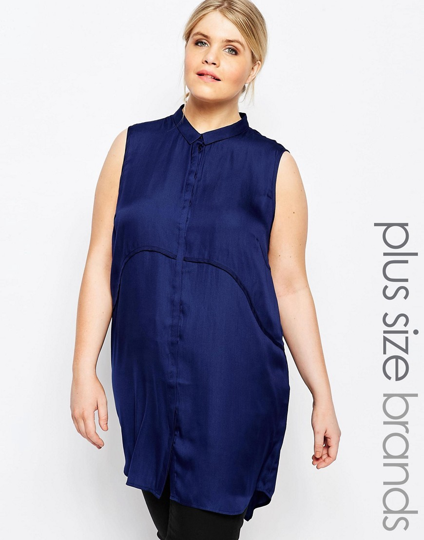 Woven Double Layer Tunic Navy - pattern: plain; sleeve style: sleeveless; style: tunic; predominant colour: navy; occasions: casual; neckline: collarstand; fibres: polyester/polyamide - 100%; fit: body skimming; length: mid thigh; sleeve length: sleeveless; pattern type: fabric; texture group: other - light to midweight; season: s/s 2016