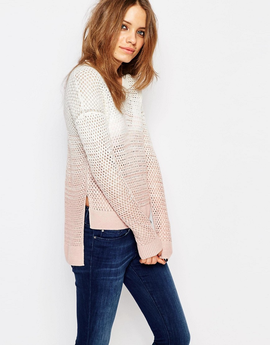 Fine Gage Jumper In Pink Dip Dye Bright Pink - neckline: round neck; length: below the bottom; pattern: tie dye; style: standard; predominant colour: white; secondary colour: blush; occasions: casual; fibres: linen - mix; fit: standard fit; sleeve length: long sleeve; sleeve style: standard; texture group: knits/crochet; pattern type: knitted - other; season: s/s 2016