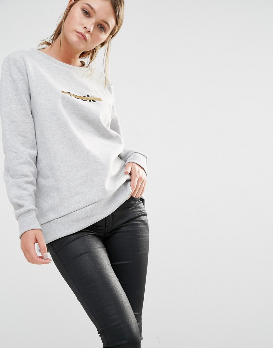 Fcuk Stripe Sweat Grey - style: sweat top; predominant colour: light grey; occasions: casual; length: standard; fibres: cotton - mix; fit: loose; neckline: crew; sleeve length: long sleeve; sleeve style: standard; pattern type: fabric; pattern: patterned/print; texture group: jersey - stretchy/drapey; season: s/s 2016; wardrobe: highlight