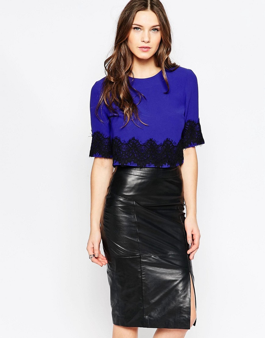 Linea Lace Short Sleeve Cropped Top Princerocks/Black - pattern: plain; length: cropped; predominant colour: royal blue; secondary colour: black; occasions: casual; style: top; fibres: cotton - mix; fit: body skimming; neckline: crew; sleeve length: half sleeve; sleeve style: standard; texture group: lace; pattern type: fabric; embellishment: embroidered; season: s/s 2016; wardrobe: highlight
