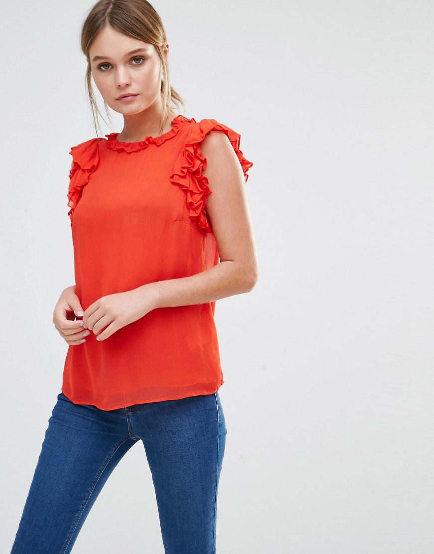 Ruffle Sleeveless Shell Top Red - pattern: plain; sleeve style: sleeveless; predominant colour: bright orange; occasions: casual; length: standard; style: top; fibres: viscose/rayon - 100%; fit: body skimming; neckline: crew; sleeve length: sleeveless; pattern type: fabric; texture group: other - light to midweight; season: s/s 2016