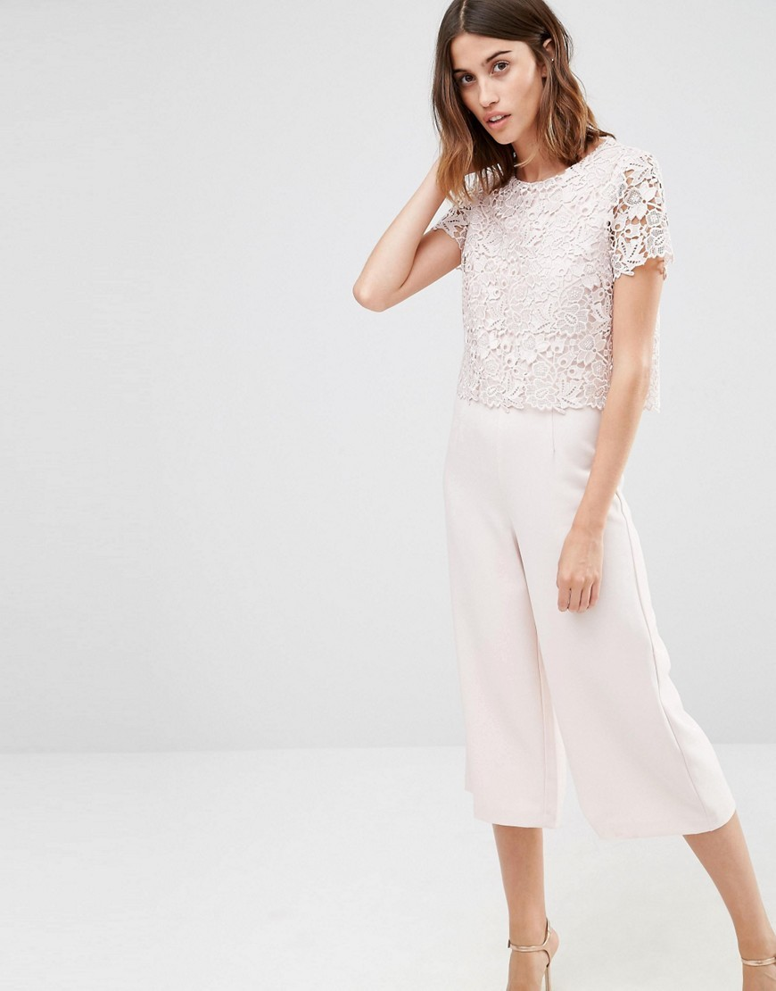 Lace Top Jumpsuit Blush - neckline: round neck; length: below the knee; predominant colour: blush; fit: straight cut; fibres: polyester/polyamide - 100%; occasions: occasion; sleeve length: short sleeve; sleeve style: standard; texture group: lace; style: jumpsuit; pattern type: fabric; pattern size: standard; pattern: patterned/print; embellishment: lace; season: s/s 2016