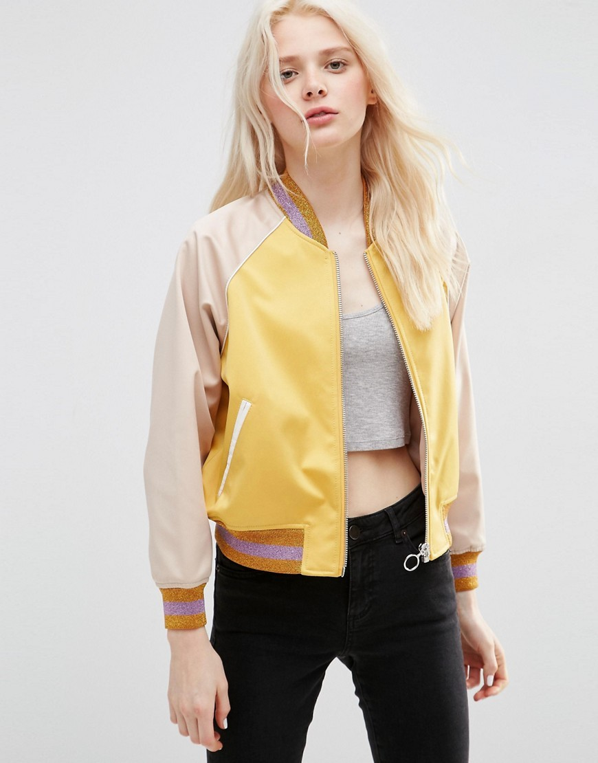 Bomber Jacket In Cropped Length With Metallic Trim Multi - collar: round collar/collarless; style: bomber; predominant colour: primrose yellow; secondary colour: stone; occasions: casual; length: standard; fit: straight cut (boxy); fibres: polyester/polyamide - 100%; sleeve length: long sleeve; sleeve style: standard; texture group: structured shiny - satin/tafetta/silk etc.; collar break: high; pattern type: fabric; pattern size: standard; pattern: colourblock; season: s/s 2016; wardrobe: highlight