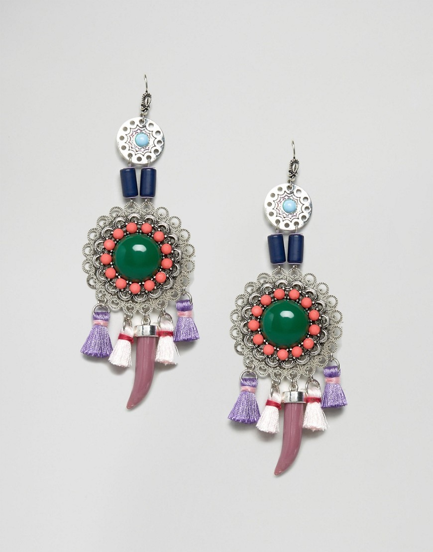 Filigree & Tusk Charm Earrings Multi - predominant colour: dark green; occasions: casual, holiday, creative work; style: chandelier; length: long; size: large/oversized; material: chain/metal; fastening: pierced; finish: plain; embellishment: jewels/stone; multicoloured: multicoloured; season: s/s 2016