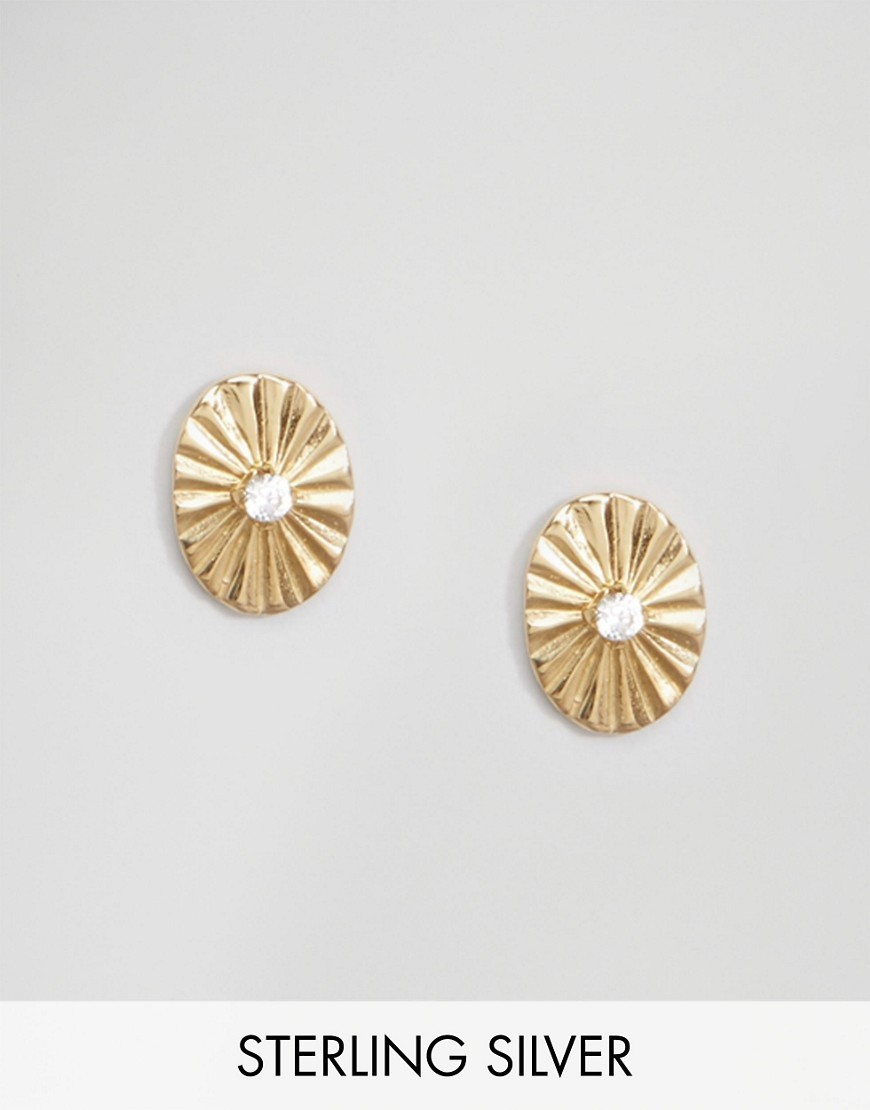 Gold Plated Sterling Silver Stone Burst Earrings Gold - predominant colour: gold; occasions: evening, creative work; style: stud; length: short; size: standard; material: chain/metal; fastening: pierced; finish: metallic; season: s/s 2016; wardrobe: basic