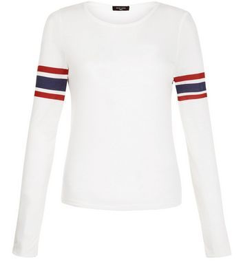 Tall White Stripe Long Sleeve Top - neckline: round neck; pattern: horizontal stripes; predominant colour: white; secondary colour: true red; occasions: casual, creative work; length: standard; style: top; fibres: polyester/polyamide - mix; fit: body skimming; sleeve length: long sleeve; sleeve style: standard; pattern type: fabric; pattern size: standard; texture group: jersey - stretchy/drapey; season: s/s 2016; wardrobe: highlight
