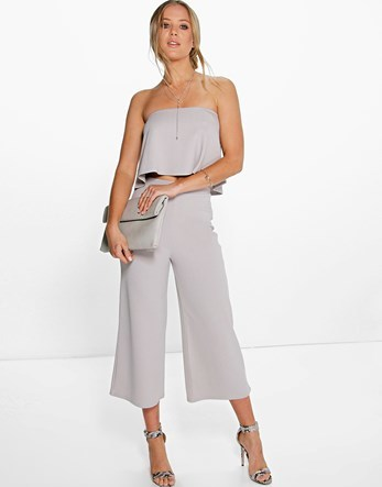 Culottes - pattern: plain; waist: high rise; predominant colour: light grey; fibres: polyester/polyamide - stretch; occasions: occasion, creative work; pattern type: fabric; texture group: other - light to midweight; season: s/s 2016; wardrobe: basic; style: culotte; length: below the knee; fit: standard