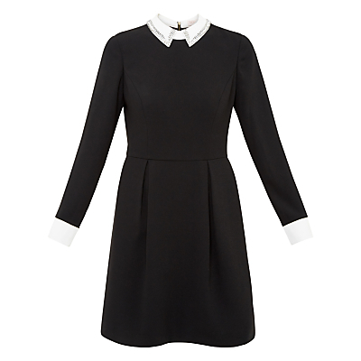 Timu Embellished Collared Dress, Black - secondary colour: white; predominant colour: black; length: just above the knee; fit: fitted at waist & bust; style: fit & flare; fibres: polyester/polyamide - 100%; neckline: no opening/shirt collar/peter pan; sleeve length: long sleeve; sleeve style: standard; pattern type: fabric; pattern size: light/subtle; pattern: colourblock; texture group: other - light to midweight; occasions: creative work; multicoloured: multicoloured; season: s/s 2016; wardrobe: highlight