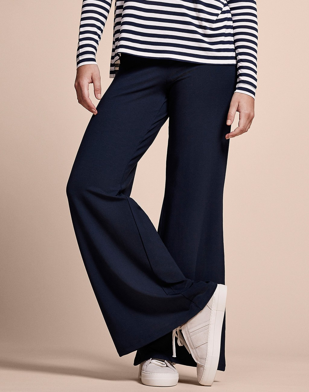 Palazzo Pants Navy - length: standard; pattern: plain; waist: mid/regular rise; predominant colour: navy; occasions: casual; fibres: polyester/polyamide - stretch; fit: wide leg; pattern type: fabric; texture group: jersey - stretchy/drapey; style: standard; season: s/s 2016