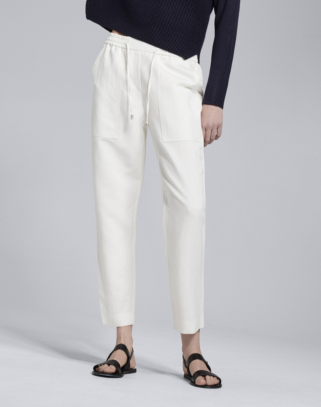 Summer Cargo Pant Soft White - length: standard; pattern: plain; style: peg leg; waist: mid/regular rise; predominant colour: white; occasions: casual, creative work; fibres: linen - mix; fit: tapered; pattern type: fabric; texture group: other - light to midweight; season: s/s 2016; wardrobe: basic