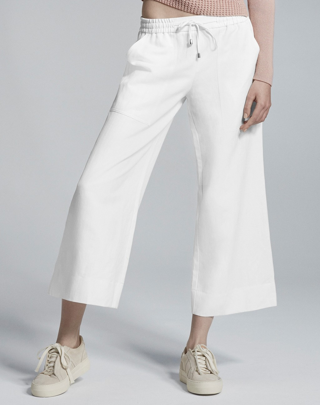 Summer Wide Leg Crop Soft White - pattern: plain; waist detail: belted waist/tie at waist/drawstring; waist: mid/regular rise; predominant colour: white; occasions: casual; length: calf length; fibres: linen - 100%; fit: wide leg; pattern type: fabric; texture group: woven light midweight; style: standard; season: s/s 2016