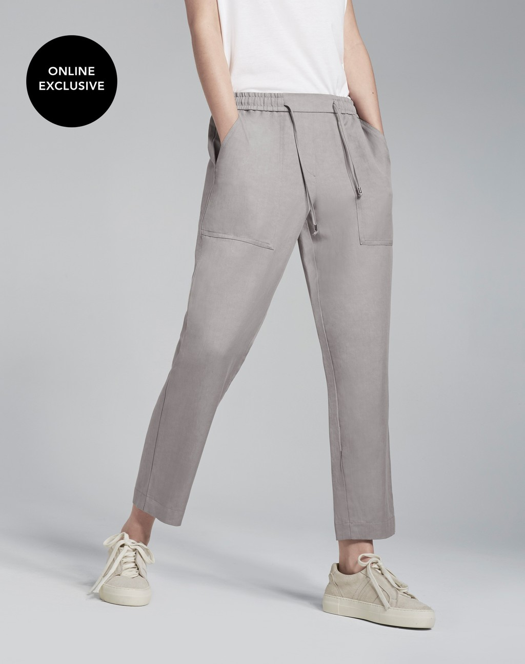 Summer Cargo Pant Mink - length: standard; pattern: plain; waist: mid/regular rise; style: cargo; predominant colour: light grey; occasions: casual; fibres: linen - 100%; fit: slim leg; pattern type: fabric; texture group: woven light midweight; season: s/s 2016; wardrobe: basic