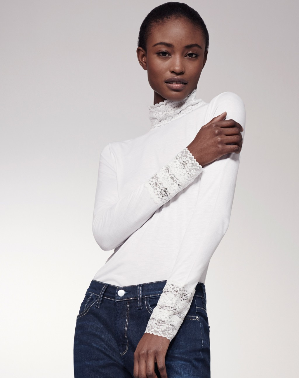 Lace Stand + Cuff Layering Top White - pattern: plain; neckline: roll neck; predominant colour: white; occasions: casual, creative work; length: standard; style: top; fibres: viscose/rayon - 100%; fit: tight; sleeve length: long sleeve; sleeve style: standard; pattern type: fabric; texture group: jersey - stretchy/drapey; embellishment: lace; season: s/s 2016; wardrobe: highlight