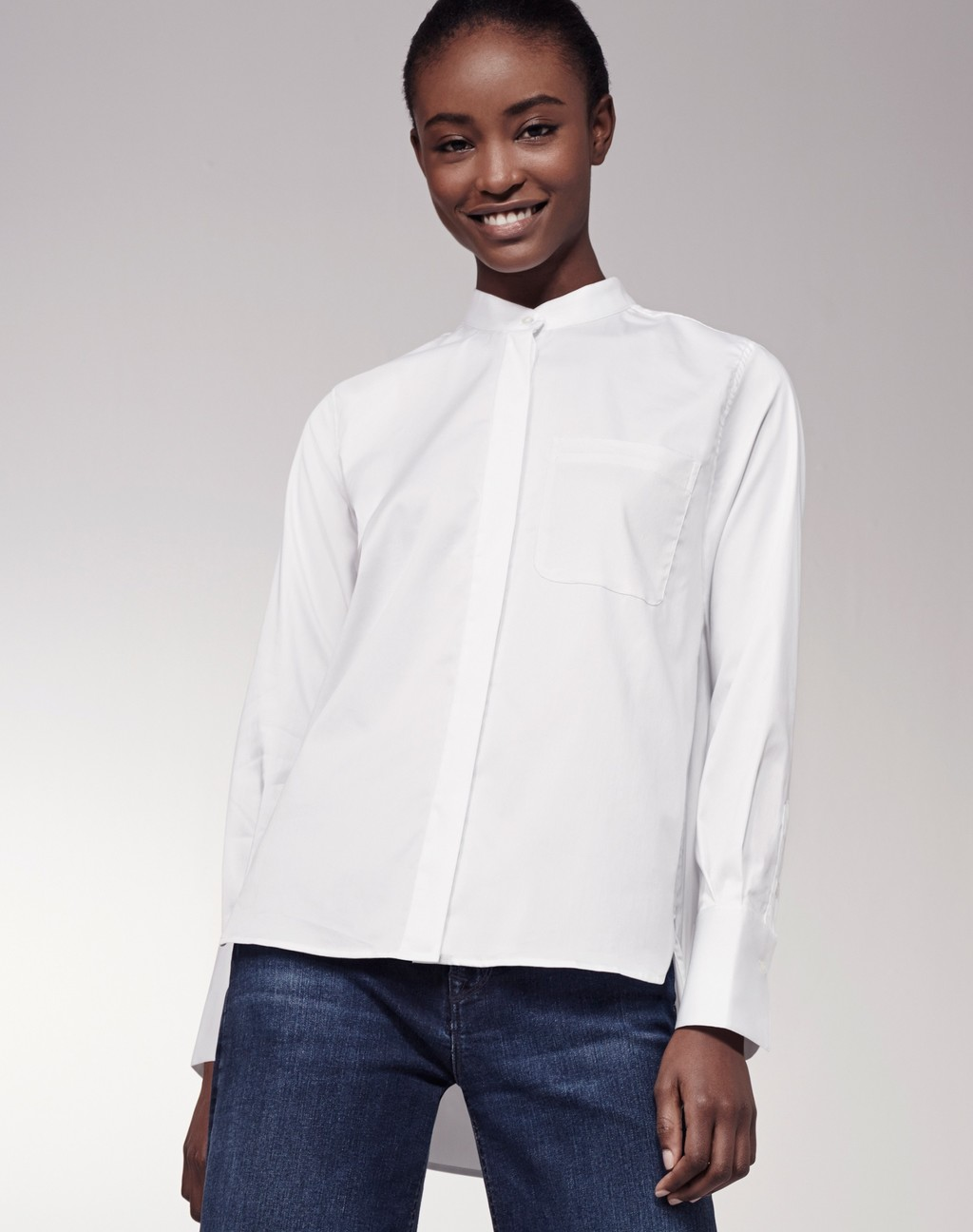 Mandarin Collar Shirt White - pattern: plain; style: shirt; predominant colour: white; occasions: work; length: standard; neckline: collarstand; fibres: cotton - 100%; fit: body skimming; sleeve length: long sleeve; sleeve style: standard; texture group: cotton feel fabrics; pattern type: fabric; season: s/s 2016