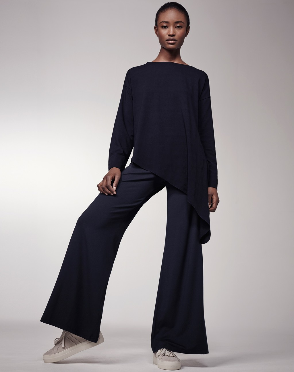 Palazzo Pants Navy - pattern: plain; predominant colour: navy; occasions: casual, creative work; length: standard; style: top; fibres: viscose/rayon - stretch; fit: body skimming; neckline: crew; sleeve length: long sleeve; sleeve style: standard; pattern type: fabric; texture group: other - light to midweight; season: s/s 2016; wardrobe: basic
