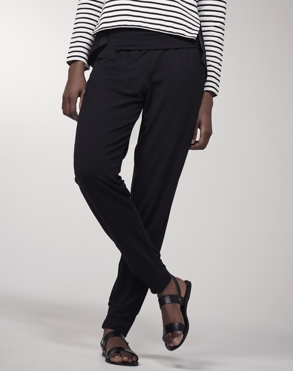 Roll Top Lounge Jersey Jogger Black - length: standard; pattern: plain; waist: mid/regular rise; predominant colour: black; fibres: polyester/polyamide - stretch; fit: tapered; pattern type: fabric; texture group: jersey - stretchy/drapey; style: standard; occasions: creative work; season: s/s 2016; wardrobe: basic