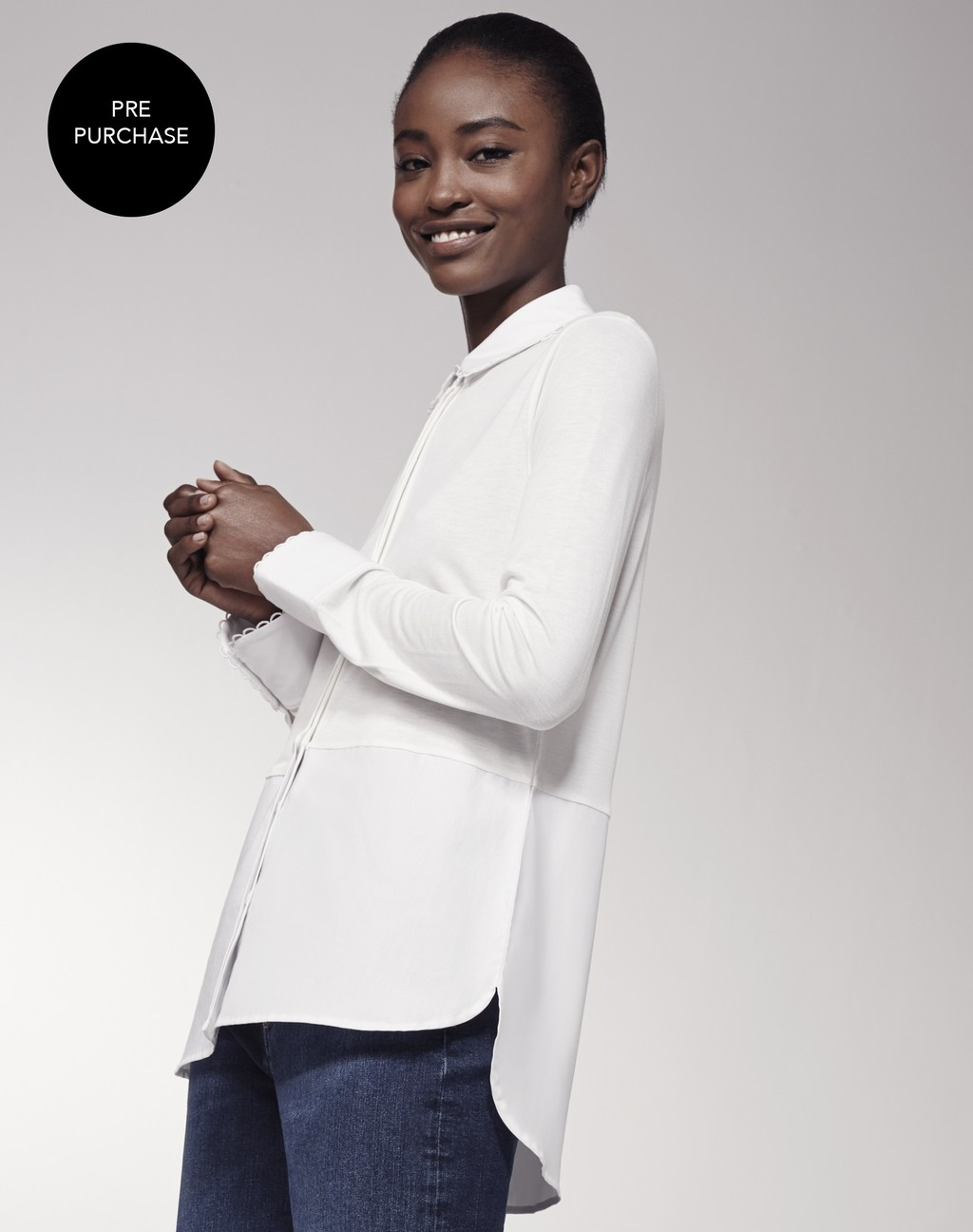 Scallop Trim Layering Shirt Soft White - neckline: shirt collar/peter pan/zip with opening; pattern: plain; style: shirt; predominant colour: ivory/cream; occasions: casual, creative work; length: standard; fibres: polyester/polyamide - 100%; fit: straight cut; sleeve length: long sleeve; sleeve style: standard; texture group: cotton feel fabrics; pattern type: fabric; season: s/s 2016; wardrobe: basic