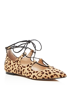 Emmari Leopard Print Lace Up Pointed Toe Flats - secondary colour: chocolate brown; predominant colour: camel; occasions: casual, creative work; material: suede; heel height: flat; ankle detail: ankle tie; toe: pointed toe; style: ballerinas / pumps; finish: plain; pattern: animal print; season: s/s 2016