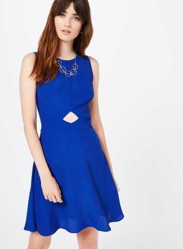 Womens Blue Skater Dress, Blue - pattern: plain; sleeve style: sleeveless; predominant colour: royal blue; occasions: evening; length: just above the knee; fit: fitted at waist & bust; style: fit & flare; fibres: viscose/rayon - 100%; neckline: crew; waist detail: cut out detail; sleeve length: sleeveless; pattern type: fabric; texture group: jersey - stretchy/drapey; season: s/s 2016; wardrobe: event