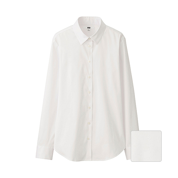 Women Supima Cotton Stretch Long Sleeve Shirt White - neckline: shirt collar/peter pan/zip with opening; pattern: plain; length: below the bottom; style: shirt; predominant colour: white; occasions: casual, work, creative work; fibres: cotton - stretch; fit: loose; sleeve length: long sleeve; sleeve style: standard; texture group: cotton feel fabrics; pattern type: fabric; season: s/s 2016; wardrobe: basic