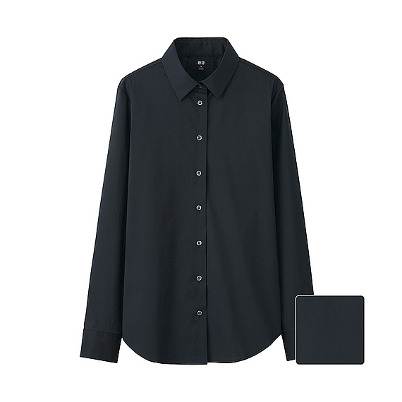 Women Supima Cotton Stretch Long Sleeve Shirt Black - neckline: shirt collar/peter pan/zip with opening; pattern: plain; length: below the bottom; style: shirt; predominant colour: black; occasions: casual, work, creative work; fibres: cotton - 100%; fit: loose; sleeve length: long sleeve; sleeve style: standard; texture group: cotton feel fabrics; pattern type: fabric; season: s/s 2016; wardrobe: basic