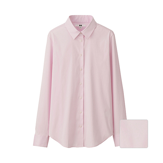 Women Supima Cotton Stretch Long Sleeve Shirt Pink - neckline: shirt collar/peter pan/zip with opening; pattern: plain; length: below the bottom; style: shirt; predominant colour: blush; occasions: casual, work, creative work; fibres: cotton - 100%; fit: loose; sleeve length: long sleeve; sleeve style: standard; texture group: cotton feel fabrics; pattern type: fabric; season: s/s 2016; wardrobe: basic