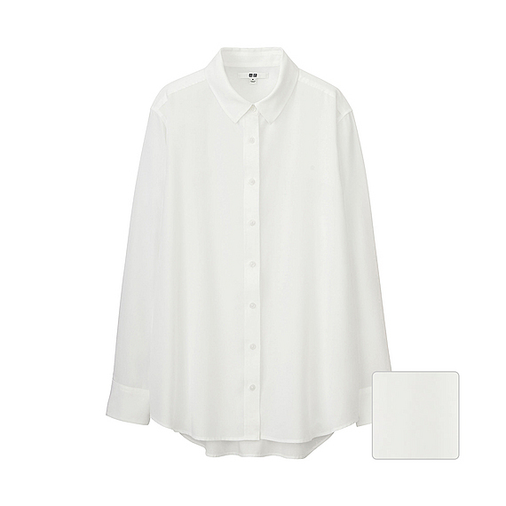 Women Silk Touch Long Sleeve Blouse (5 Colours) White - neckline: shirt collar/peter pan/zip with opening; pattern: plain; length: below the bottom; style: shirt; predominant colour: white; occasions: work; fibres: silk - 100%; fit: loose; sleeve length: long sleeve; sleeve style: standard; texture group: silky - light; pattern type: fabric; season: s/s 2016; wardrobe: basic