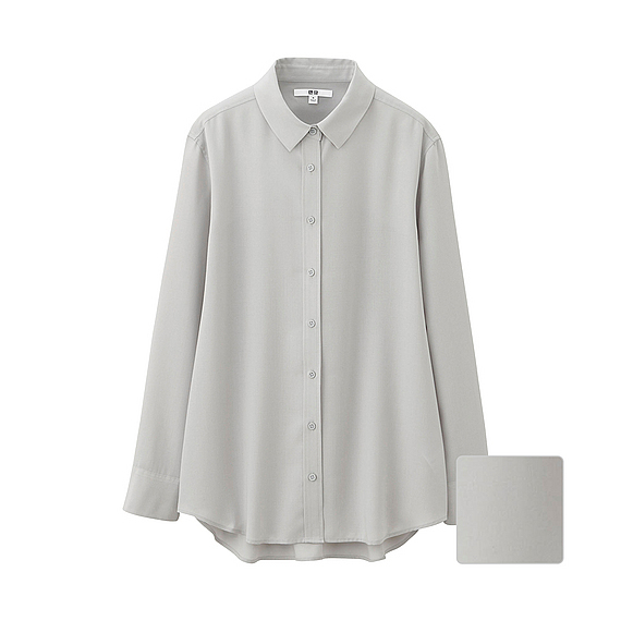 Women Silk Touch Long Sleeve Blouse (7 Colours) Gray - neckline: shirt collar/peter pan/zip with opening; pattern: plain; length: below the bottom; style: shirt; predominant colour: light grey; occasions: casual; fibres: silk - 100%; fit: loose; sleeve length: long sleeve; sleeve style: standard; texture group: silky - light; pattern type: fabric; season: s/s 2016; wardrobe: basic