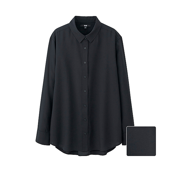 Women Silk Touch Long Sleeve Blouse (5 Colours) Black - neckline: shirt collar/peter pan/zip with opening; pattern: plain; length: below the bottom; style: shirt; predominant colour: black; occasions: casual, creative work; fibres: silk - 100%; fit: loose; sleeve length: long sleeve; sleeve style: standard; texture group: silky - light; pattern type: fabric; season: s/s 2016; wardrobe: basic