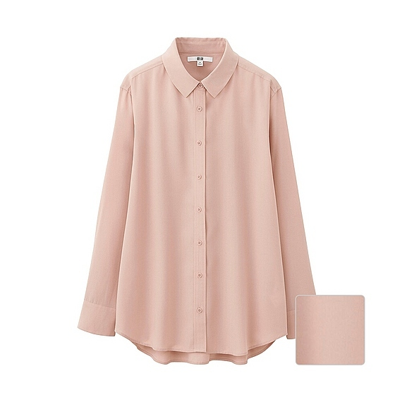 Women Silk Touch Long Sleeve Blouse (5 Colours) Pink - neckline: shirt collar/peter pan/zip with opening; pattern: plain; length: below the bottom; style: shirt; predominant colour: nude; occasions: casual; fibres: silk - 100%; fit: loose; sleeve length: long sleeve; sleeve style: standard; texture group: silky - light; pattern type: fabric; season: s/s 2016; wardrobe: basic