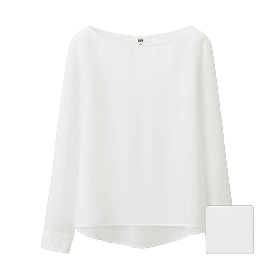 Women Silk Touch Boat Neck T Blouse (6 Colours) White - pattern: plain; predominant colour: white; occasions: casual; length: standard; style: top; fibres: polyester/polyamide - mix; fit: body skimming; neckline: crew; sleeve length: long sleeve; sleeve style: standard; texture group: crepes; pattern type: fabric; season: s/s 2016