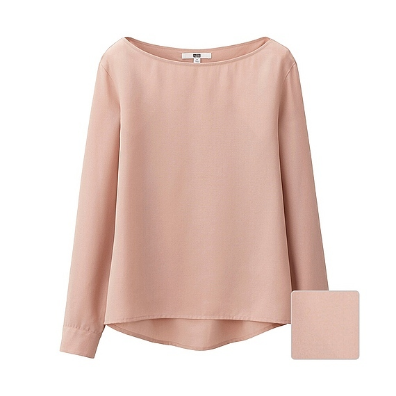 Women Silk Touch Boat Neck T Blouse (5 Colours) Pink - pattern: plain; predominant colour: blush; occasions: casual; length: standard; style: top; fibres: polyester/polyamide - mix; fit: body skimming; neckline: crew; sleeve length: long sleeve; sleeve style: standard; texture group: crepes; pattern type: fabric; season: s/s 2016; wardrobe: basic