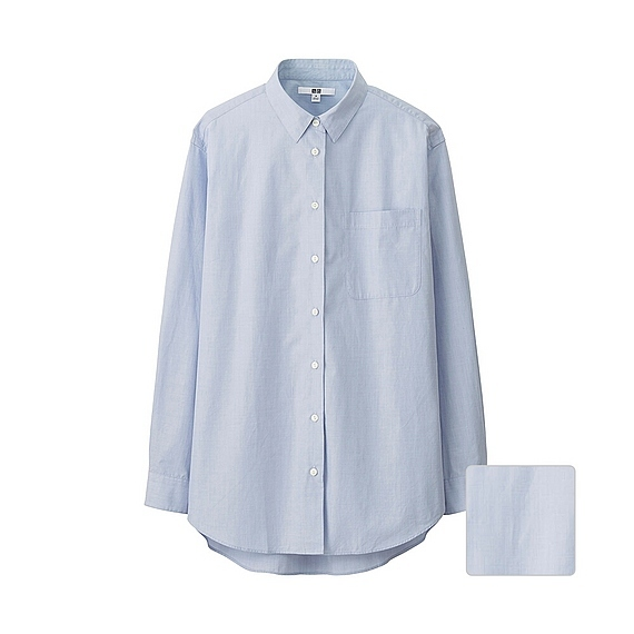 Women Extra Fine Cotton Oversized Long Sleeve Shirt Blue - neckline: shirt collar/peter pan/zip with opening; pattern: plain; length: below the bottom; style: shirt; predominant colour: pale blue; occasions: work; fibres: cotton - 100%; fit: loose; sleeve length: long sleeve; sleeve style: standard; texture group: cotton feel fabrics; pattern type: fabric; season: s/s 2016