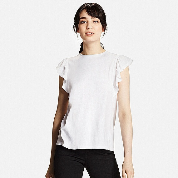 Women Frilled Sleeve T Shirt White - pattern: plain; neckline: high neck; style: blouse; sleeve style: volant; predominant colour: white; occasions: casual, creative work; length: standard; fibres: polyester/polyamide - 100%; fit: body skimming; sleeve length: short sleeve; texture group: crepes; pattern type: fabric; season: s/s 2016; wardrobe: basic