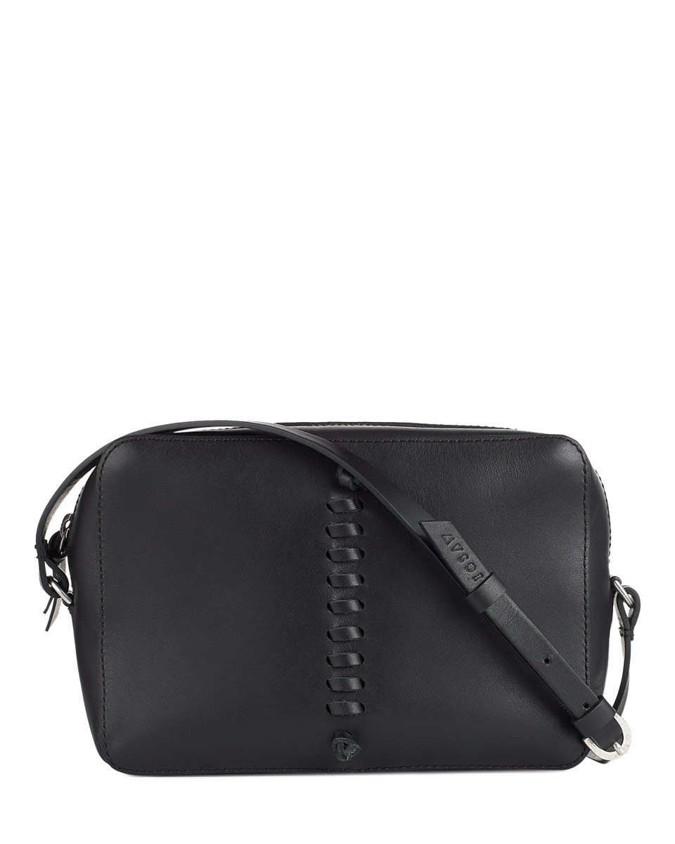 Romy Whipstitch Cross Body Bag - predominant colour: black; occasions: casual, creative work; type of pattern: standard; style: messenger; length: across body/long; size: small; material: leather; pattern: plain; finish: plain; season: s/s 2016; wardrobe: basic