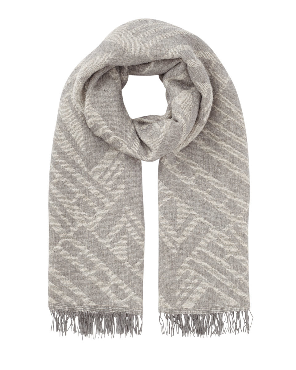 Aztec Oversized Scarf - predominant colour: ivory/cream; occasions: casual; type of pattern: standard; style: regular; size: standard; material: fabric; embellishment: fringing; pattern: striped; season: s/s 2016; wardrobe: highlight