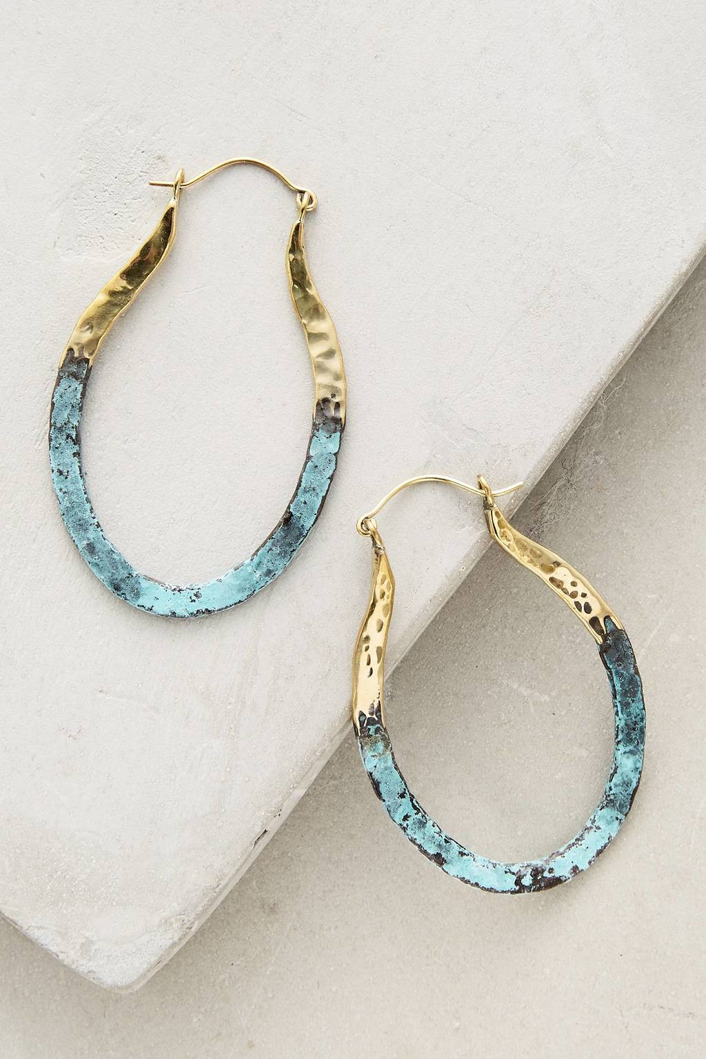 Detta Hoop Earrings - secondary colour: pale blue; predominant colour: gold; occasions: evening, creative work; style: hoop; length: mid; size: standard; material: chain/metal; fastening: pierced; finish: metallic; season: s/s 2016; wardrobe: basic