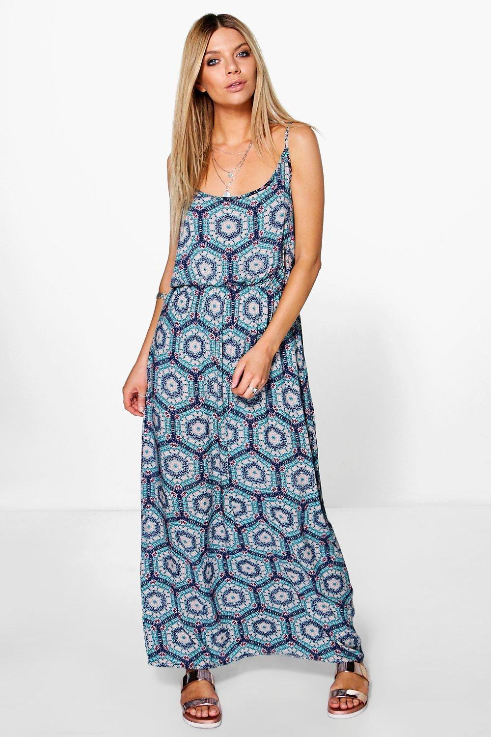 Woven Printed Maxi Dress Multi - sleeve style: sleeveless; style: maxi dress; length: ankle length; predominant colour: diva blue; secondary colour: pale blue; occasions: casual; fit: body skimming; neckline: scoop; fibres: polyester/polyamide - 100%; sleeve length: sleeveless; pattern type: fabric; pattern: patterned/print; texture group: other - light to midweight; season: s/s 2016; wardrobe: highlight