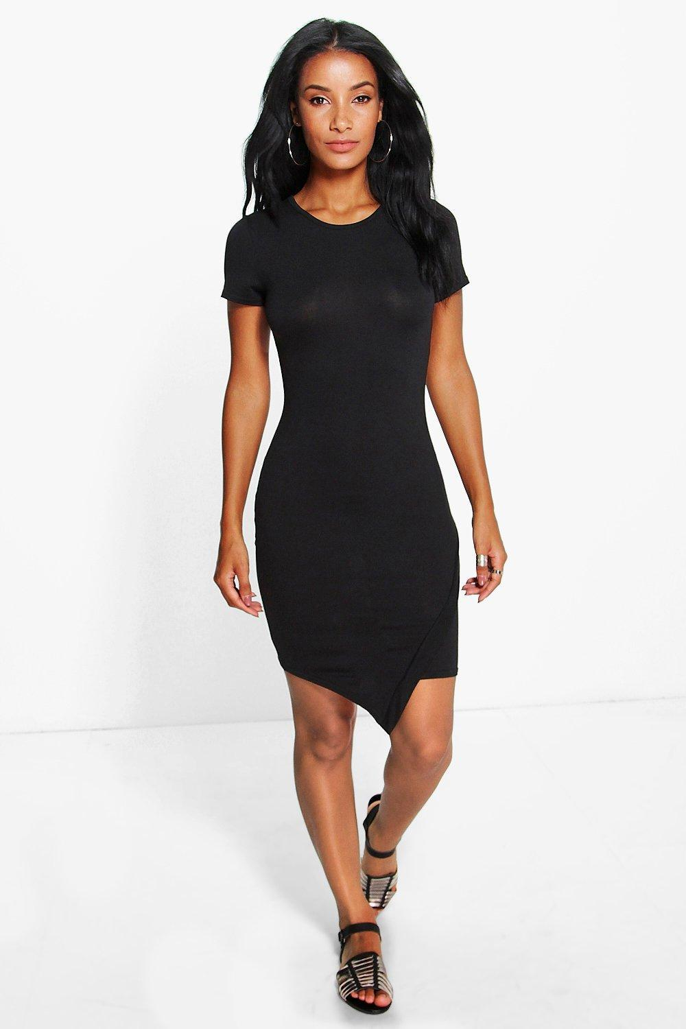 Asymetic Bodycon Dress Black - fit: tight; pattern: plain; style: bodycon; predominant colour: black; occasions: evening; length: just above the knee; fibres: viscose/rayon - stretch; neckline: crew; sleeve length: short sleeve; sleeve style: standard; texture group: jersey - clingy; pattern type: fabric; season: s/s 2016; wardrobe: event