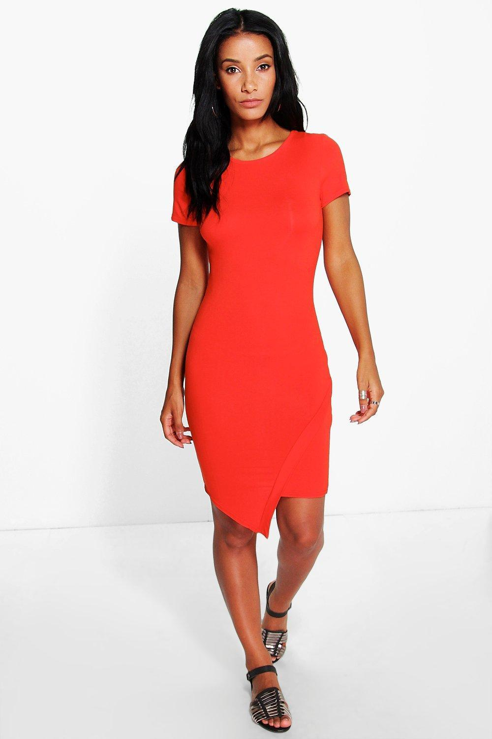 Asymetic Bodycon Dress Orange - neckline: round neck; fit: tight; pattern: plain; style: bodycon; predominant colour: bright orange; occasions: evening; length: just above the knee; fibres: viscose/rayon - stretch; sleeve length: short sleeve; sleeve style: standard; texture group: jersey - clingy; pattern type: fabric; season: s/s 2016; wardrobe: event