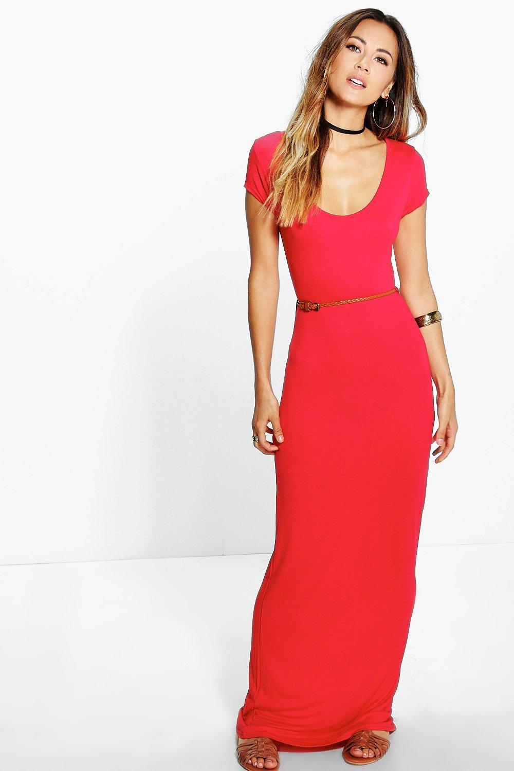 Cap Sleeve Belted Maxi Dress Red - fit: tight; pattern: plain; style: maxi dress; waist detail: belted waist/tie at waist/drawstring; predominant colour: true red; occasions: evening; length: floor length; neckline: scoop; fibres: polyester/polyamide - stretch; sleeve length: short sleeve; sleeve style: standard; texture group: jersey - clingy; pattern type: fabric; season: s/s 2016; wardrobe: event