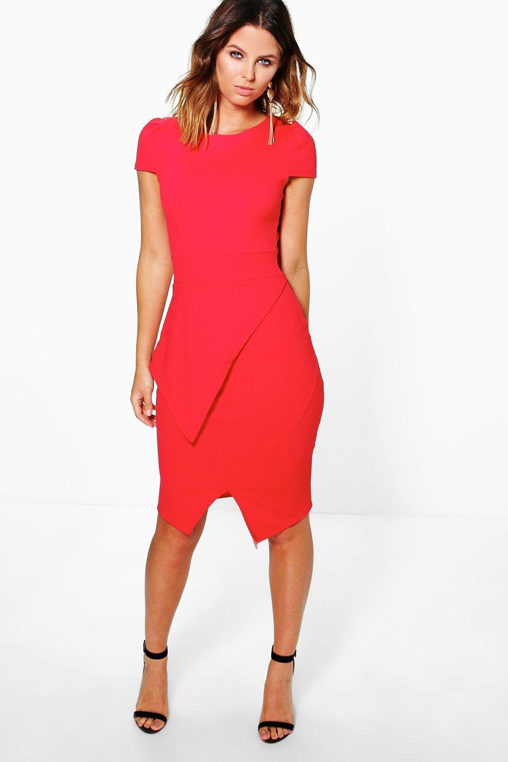 Wrap Skirt Bodycon Dress Red - fit: tight; pattern: plain; style: bodycon; predominant colour: true red; occasions: evening; length: on the knee; fibres: polyester/polyamide - stretch; neckline: crew; sleeve length: short sleeve; sleeve style: standard; texture group: jersey - clingy; pattern type: fabric; season: s/s 2016; wardrobe: event