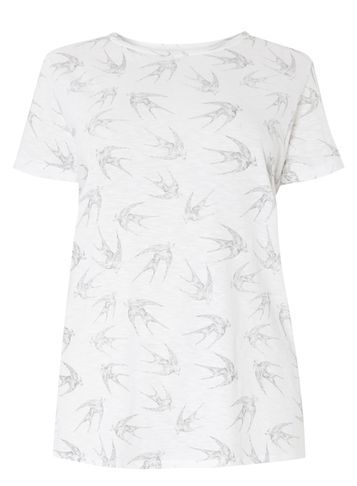 Womens **Dp Curve Ivory Bird Printed Tee White - neckline: round neck; style: t-shirt; predominant colour: white; secondary colour: light grey; occasions: casual; length: standard; fibres: viscose/rayon - 100%; fit: body skimming; sleeve length: short sleeve; sleeve style: standard; pattern type: fabric; pattern size: standard; pattern: patterned/print; texture group: jersey - stretchy/drapey; season: s/s 2016; wardrobe: highlight