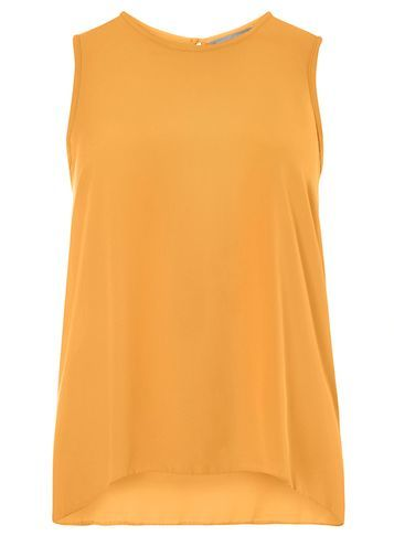 Womens Yellow Dip Back Shell Top Yellow - neckline: round neck; pattern: plain; sleeve style: sleeveless; predominant colour: yellow; occasions: casual, creative work; length: standard; style: top; fibres: polyester/polyamide - 100%; fit: body skimming; back detail: longer hem at back than at front; sleeve length: sleeveless; texture group: sheer fabrics/chiffon/organza etc.; pattern type: fabric; season: s/s 2016; wardrobe: highlight