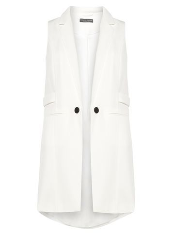 Womens White Twill Sleevless Jacket White - pattern: plain; sleeve style: sleeveless; style: single breasted blazer; length: below the bottom; collar: standard lapel/rever collar; predominant colour: white; fit: tailored/fitted; fibres: polyester/polyamide - 100%; sleeve length: sleeveless; collar break: low/open; pattern type: fabric; texture group: woven light midweight; occasions: creative work; season: s/s 2016; wardrobe: highlight